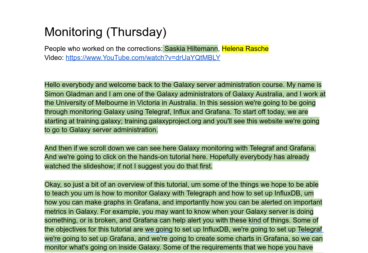 screenshot of Google docs. A section reads 'Monitoring (Thursday)' and lists people who worked on the captions with their names in different colours. The video is linked below, before the rest of the contents highlighted in the colour of the first person.